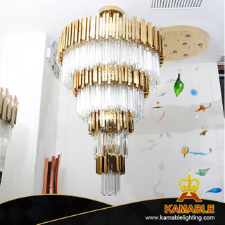 Multi-Layer Clear Golden Hotel Crystal Pendant Lighting (KA536-P)