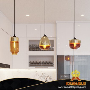 Dining Room Pendant Lamp Glass Golden Pendant Lamp (P0032)