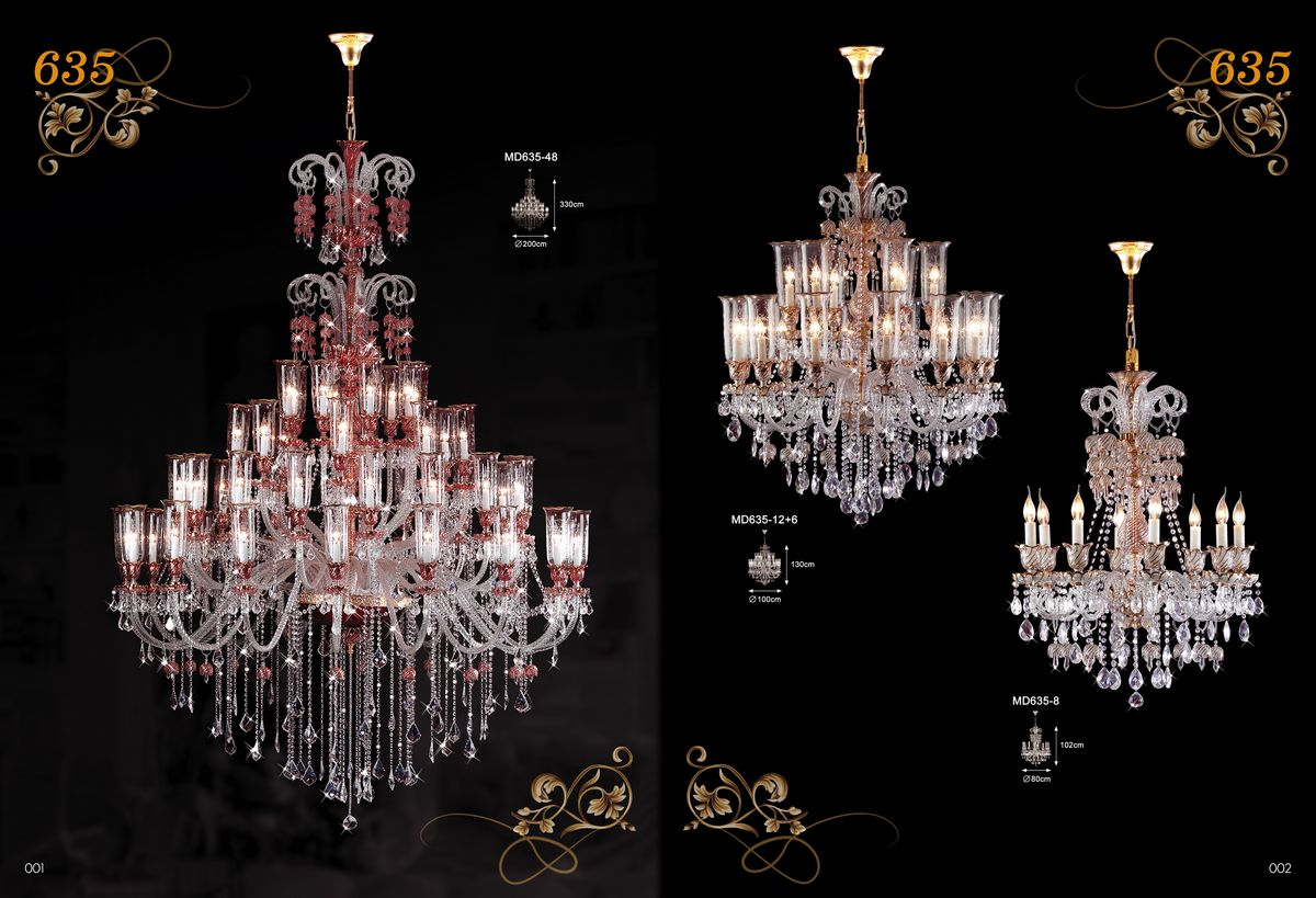 Hotel lobby Crystal candle chandelier (MD635-48)