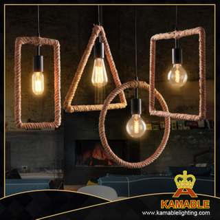 Industrial vintage hemp rope decorative pendant lamp. (BS5030)