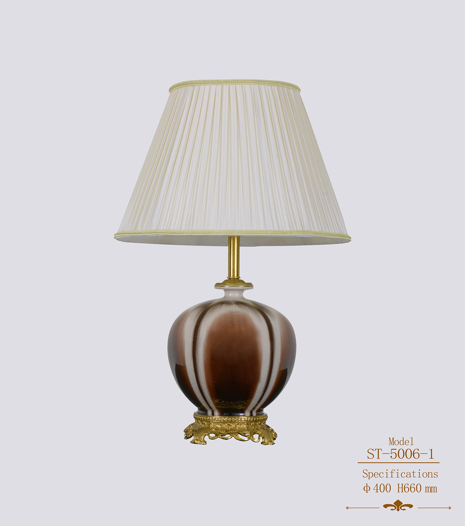 Hotel Room Decorative Ceramic Brass Table Lamp (ST-5006-1-A)