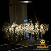 Fancy Restaurant Decorative Frosted Clear Crystal Clusters Drip Brass Chandelier (KABC01)