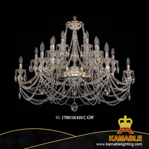 European Hotel Project Pendant Light Brass Crystal Chandelier (1709/18/410C GW)