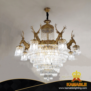 Crystal Decorative Antique Brass Chandeliers for Hotel Villa (FD-1713-8+8+4)