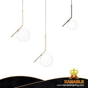 Hot sell white glass metal pendant lamp (9137P)