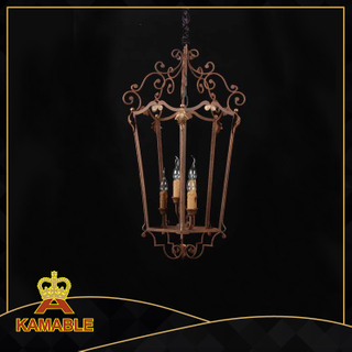 Classical rust color iron frame candle decorative pendant light(GD1035-6)