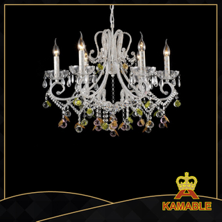 Magnificent style indoor decorative painted chandelier(5033-6L clear+pink)