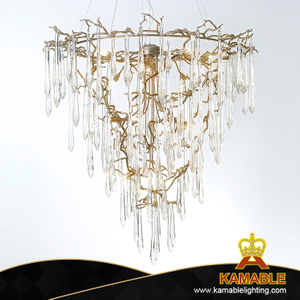 Modern Decorative Dining Room Brass Glass Pendant Light (KSE-0004)