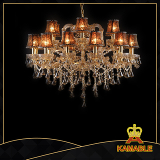 Golden Crystal with lamp shade chandelier(10044-18L)