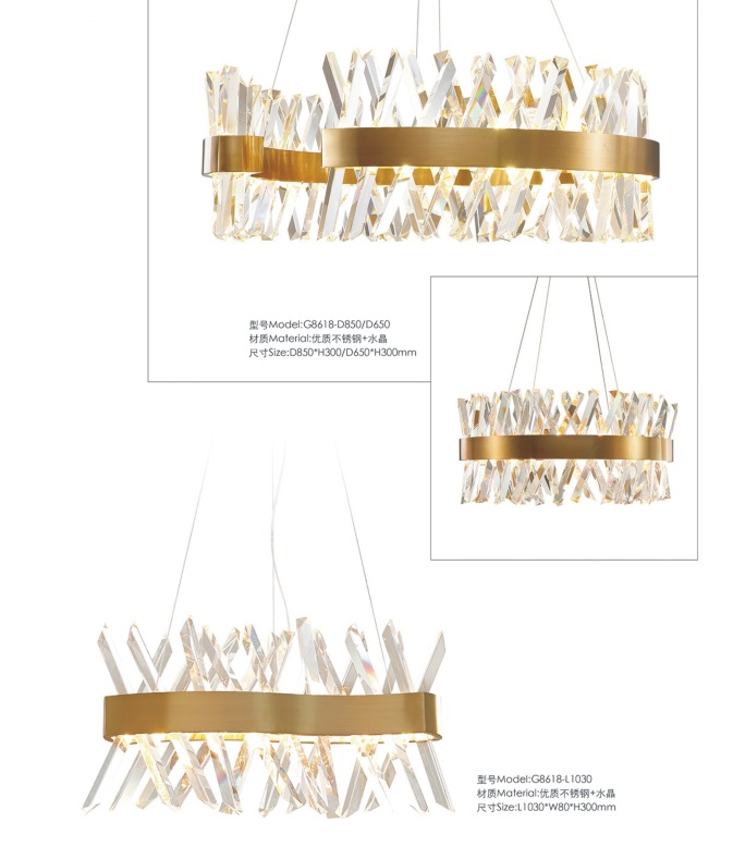 Mdoern Decorative Stainless Steel Crystal Pendant Lamp (G8618-L1150)