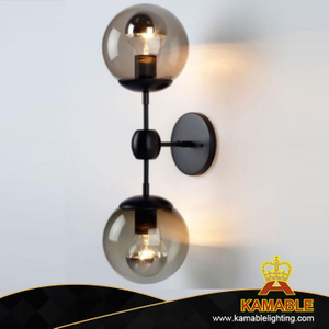 Double Glass Bulb Black Wall Mounted Lamp (KAWL124)