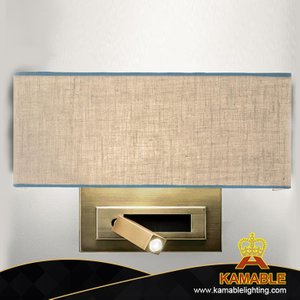 Modern design hotel guestroom villa decorative bedroom brass indoor fabric led wall lamp (KAWL-01)