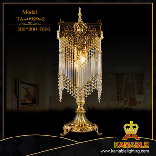bedside hotel degsign antique brass table lamp with crystal (TA-0929-2)