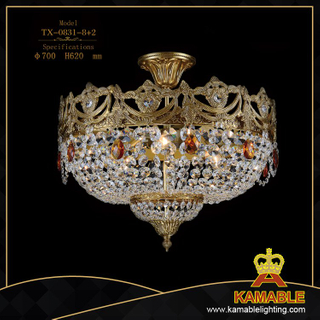 Graceful golden crystal ceiling light (TX-0831-8+2)