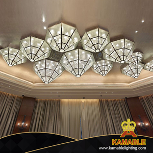 Hotel Project Custom-Made Triangle Glass Ceiling Lamp (KAJ18007)