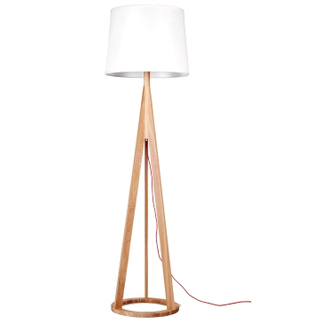 Contemporary wood base floor light with white shade (LBMD-HL)
