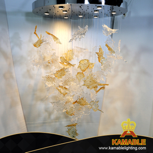 Hotel Lobby Decoration Hand Made Glass Customized leaf Chandelier Lighting (KJ034)