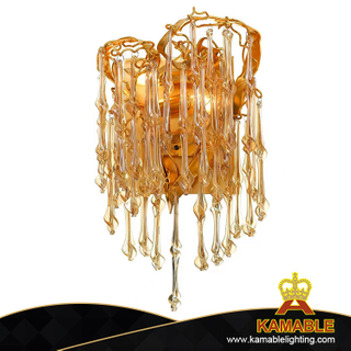 Luxurious Golden Bright Hotel Hallway Glass Wall Lamp (KA315-2W)